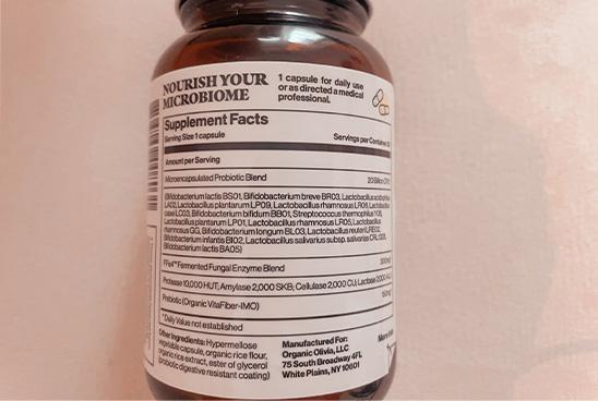 Organic Olivia Probiotic Label